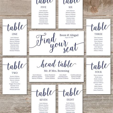 Diy Wedding Seating Chart Template Free